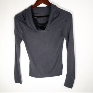 RD Style Off Shoulder Ribbed Sweater Medium Gray